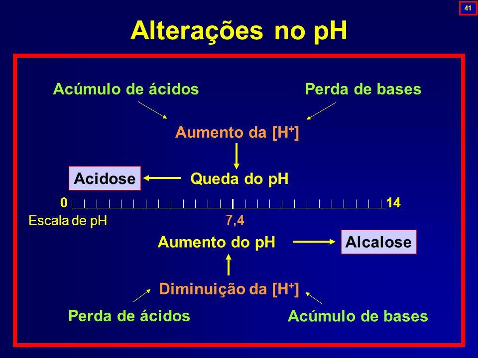 Alterações no pH Aumento da [H+] Acidose Alcalose Queda do pH